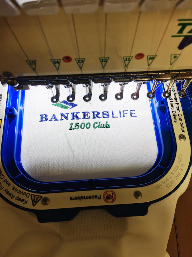 Bankers Life Logo Being Embroidered