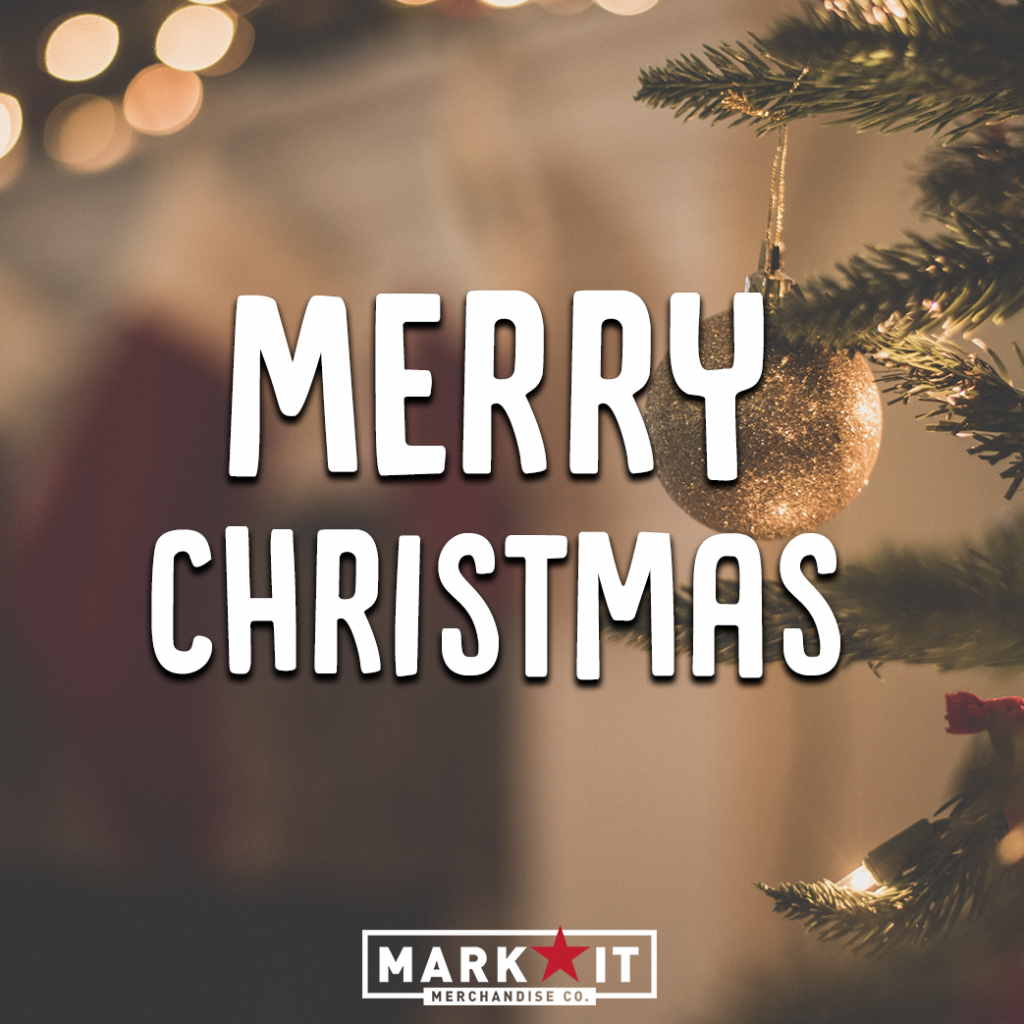 Merry Christmas blog post featuring MarkIt Merchandise's logo and Christmas tree in the background