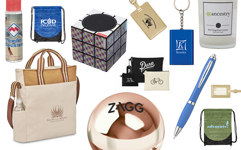 2018 Promo Products featured in a collage with a candle, pen, tote bag, Rubix cube and luggage tag.