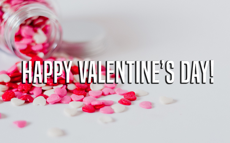 Valentine's Day picture with candy hearts, featured in MarkIt Merchandise's Blog Post