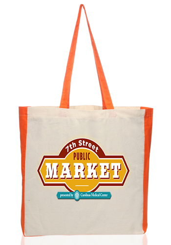 Side Accent Cotton Tote Bags
