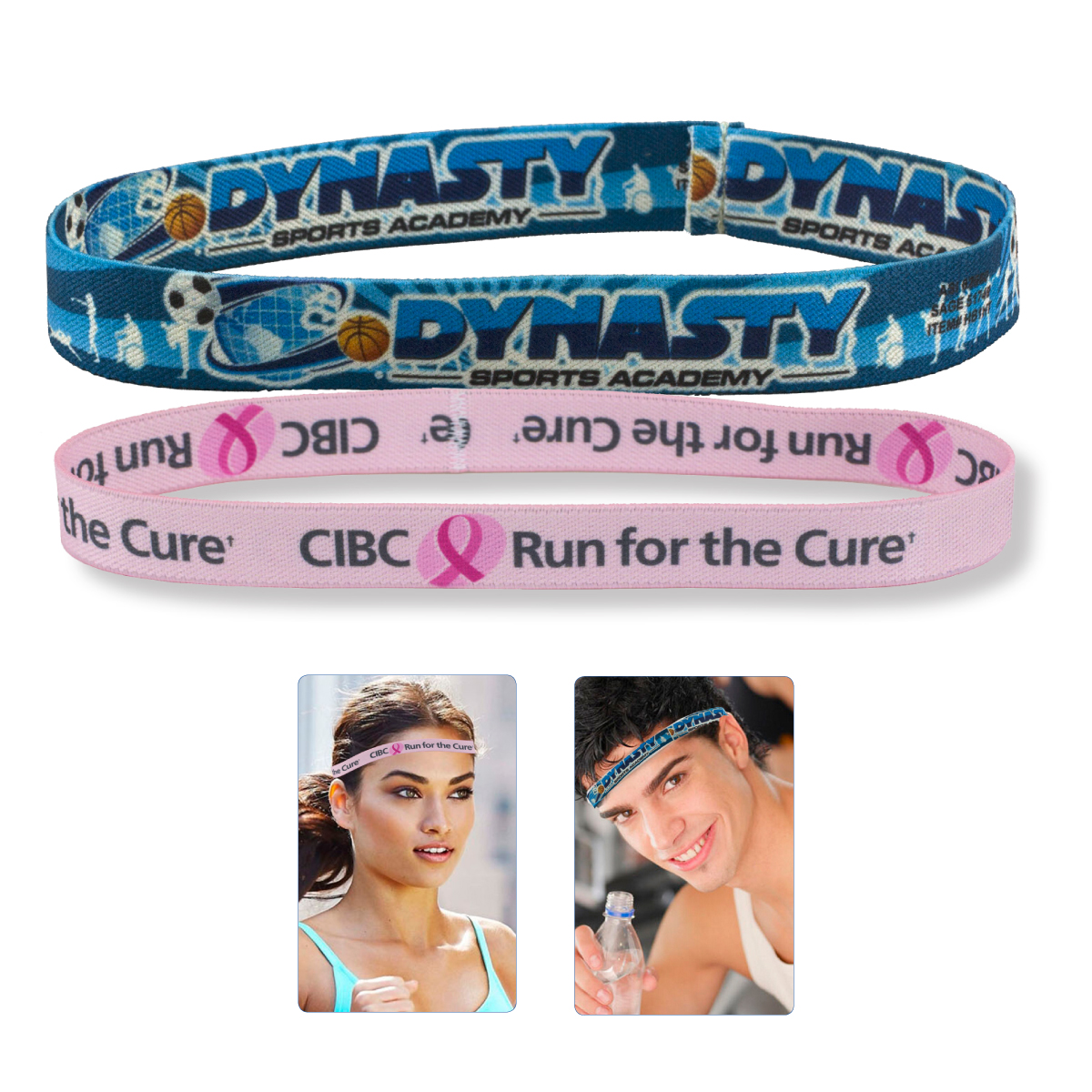 Stretchy Elastic Dye Sublimation Headbands