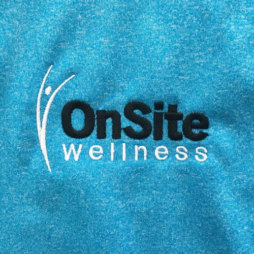 Black and white OnSite Wellness. Embroidered on MarkIt Merchandise.