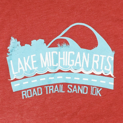 Lake Michigan Road Trail Sand 10K Screen printed artwork on red t-shirt with light blue and white artwork.