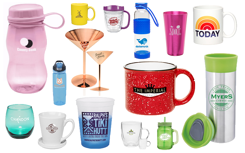 a drinkware collage featuring mason jars, martini glasses, water bottles, wine glasses and color changing stadium cups.