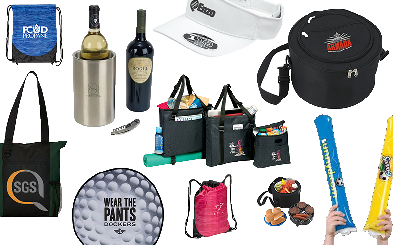 Collage of Promotional Products that we carry at MarkIt Merchandise.