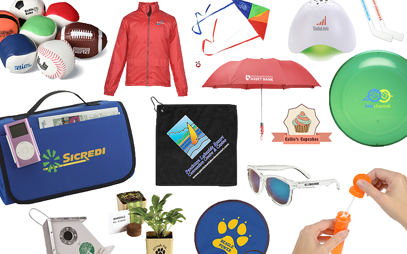 Collection of 2018 spring branding promotional products, featuring: umbrealla, windbreaker, frisbee, sunglasses, bubbles, a kite and a birdhouse.