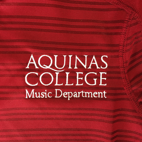 Aquinas Music Department, embroidered at MarkIt Merchandise