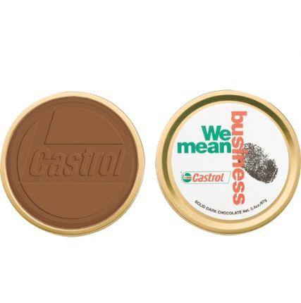Round Custom Chocolate in Metal Tin