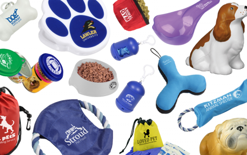Promotional dog products featuring frisbee, dog dish, chip clip, dog bags and more!