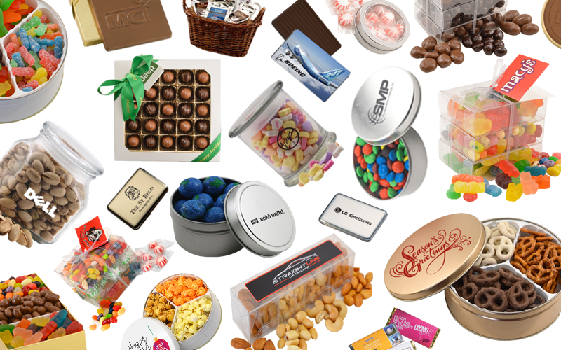 Promotional foods featuring popcorn, pretzels, candy, peppermints and chocolate