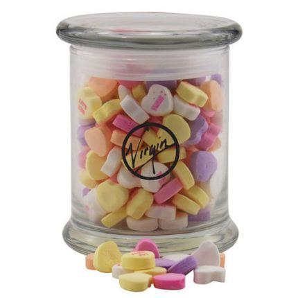 Round Glass Jar with Conversation Hearts