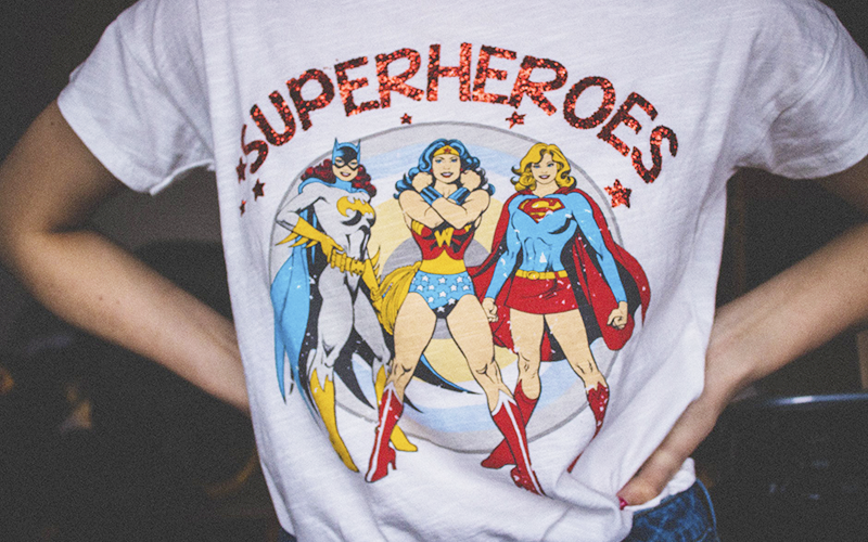 Designing a T-Shirt on a Budget, featuring a superheroes t-shirt.