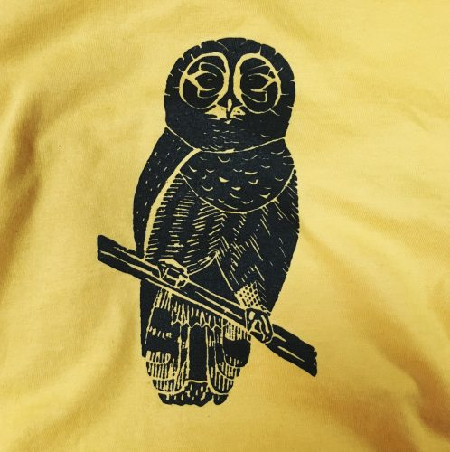 Owl, screen printed at MarkIt Merchandise, on yellow shirt